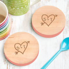 Personalised Set Of Two Carved Heart Coasters