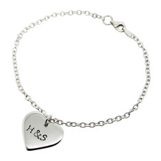 Personalised sterling silver love heart bracelet