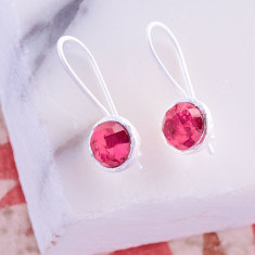 Cupcake Smaller Drop Earrings In Silver With Silimanite