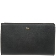 Monogrammed Saffiano Leather Clutch Bag with Gold Embossing