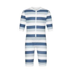 All-in-one zip-up rashie in blue grey stripe