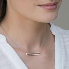 Crystal inlay bar necklace 18k rose gold vermeil