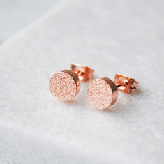 Circle shimmer studs in rose gold, silver or gold