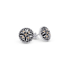 Zahara Sterling Silver and 18K Gold Filigree Round Stud Earrings