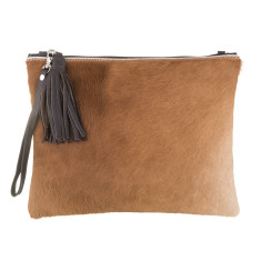 Jem in Brown Calf-Hair/Brown Leather Clutch