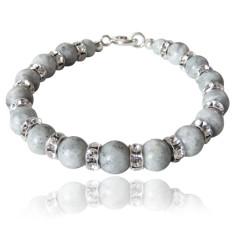 Riverstone and rhinestone bracelet