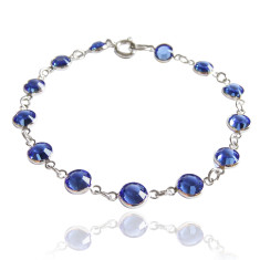 Swarovski crystal jewelled chain bracelet in sapphire