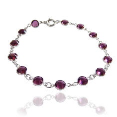 Swarovski crystal jewelled chain bracelet in amethyst