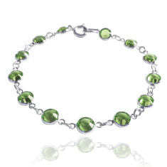 Swarovski crystal jewelled chain bracelet peridot