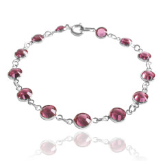 Swarovski crystal jewelled chain bracelet in rose pink