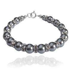 Tatiana Swarovski crystal pearl bracelet in charcoal