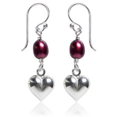 Freshwater pearl heart earrings