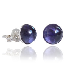 Iolite cabochon stud earrings