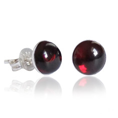 Garnet cabochon stud earrings