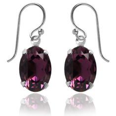 Swarovski crystal oval earrings in amethyst