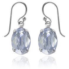 Swarovski crystal oval earrings in blue shade