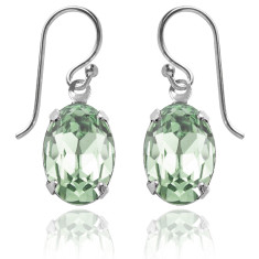 Swarovski crystal oval earrings in chrysolite