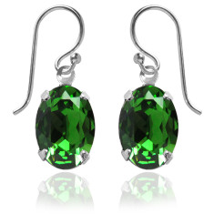 Swarovski crystal oval earrings in fern green