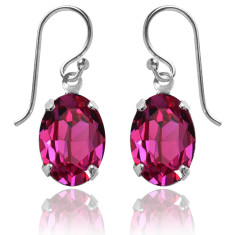 Swarovski crystal oval earrings in fuchsia pink