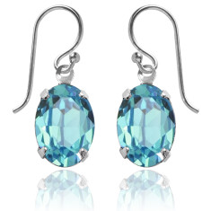 Swarovski crystal oval earrings in light turquoise