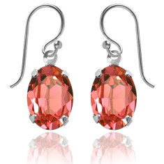 Swarovski crystal oval earrings in padparadscha