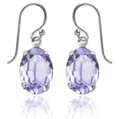 Swarovski crystal oval earrings in provence lavender
