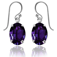 Swarovski crystal oval earrings in purple velvet