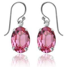 Swarovski crystal oval earrings in rose pink