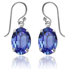 Swarovski crystal oval earrings in sapphire