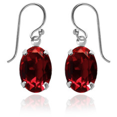 Swarovski crystal oval earrings in siam red
