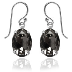 Swarovski crystal oval earrings in silver night