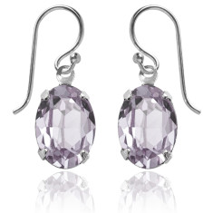 Swarovski crystal oval earrings in smoky mauve