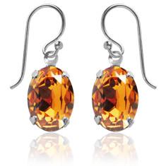 Swarovski crystal oval earrings in topaz