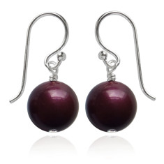 Swarovski pearl earrings in blackberry