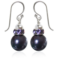 Tatiana Swarovski crystal pearl earrings in purple
