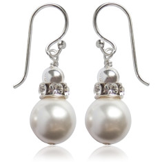 Tatiana Swarovski pearl crystal earrings in white