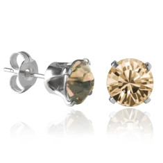 Swarovski crystal solitaire stud earrings in golden shadow