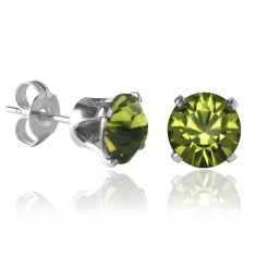 Swarovski  crystal solitaire stud earrings in olivine