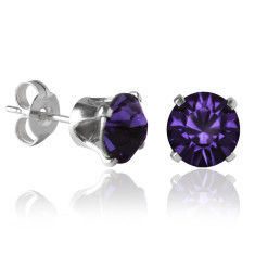 Swarovski crystal solitaire stud earrings in purple velvet