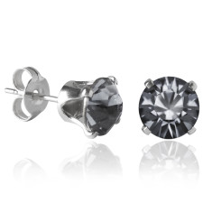 Swarovski crystal solitaire stud earrings in silver night