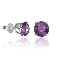 Swarovski crystal solitaire stud earrings in amethyst