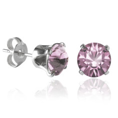 Swarovski crystal solitaire stud earrings in antique pink