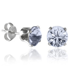 Swarovski crystal solitaire stud earrings in blue shade