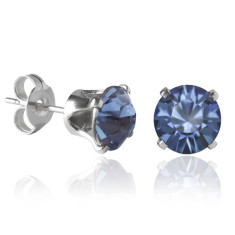Swarovski crystal solitaire stud earrings in denim blue