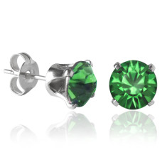 Swarovski crystal solitaire stud earrings in fern green