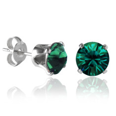 Swarovski crystal solitaire stud earrings in emerald