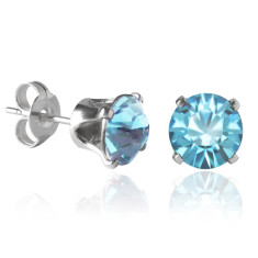 Swarovski crystal solitaire stud earrings in light turquoise