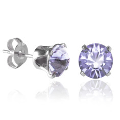 Swarovski crystal solitaire stud earrings in provence lavender