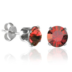 Swarovski crystal solitaire stud earrings in red magma