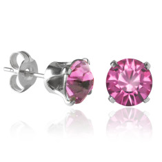 Swarovski crystal solitaire stud earrings in rose pink